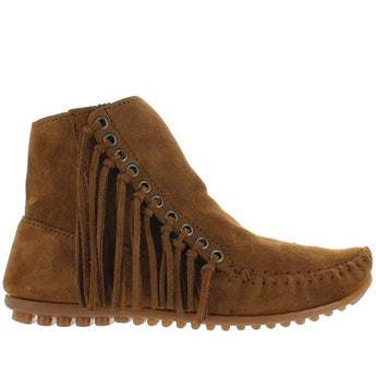 Minnetonka Willow - Dusty Brown Suede Side Fringe Moc Bootie 663