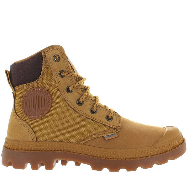 Palladium Pampa Sport Cuff - Waterproof Amber Gold Nubuck/Nylon Lace-Up Boot