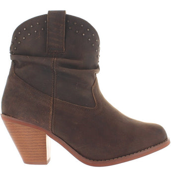 Dingo Lu Lu - Brown Leather Stud Collar Cowboy Bootie