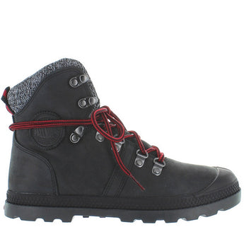 Palladium Pallabrouse Hiker LP - Black/Red/Castlerock Leather/Textile Hiking Boot