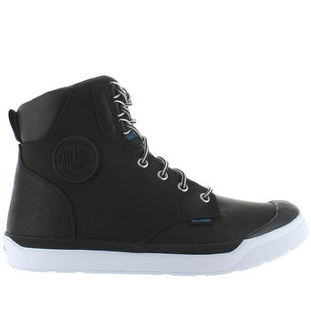 Palladium Pallarue Hi Cuff - Waterproof Black Leather/Nylon Athleisure Boot 05144-002