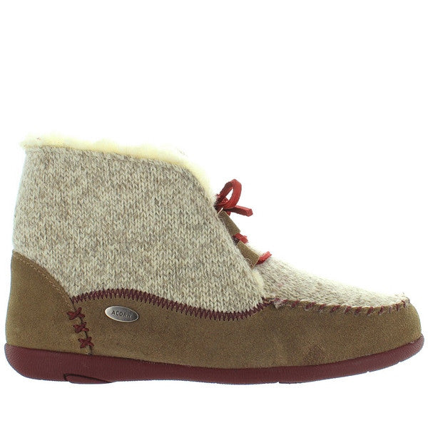 Acorn Slopeside - Caribou Suede/Knit Fur-Lined Moc Slipper Bootie