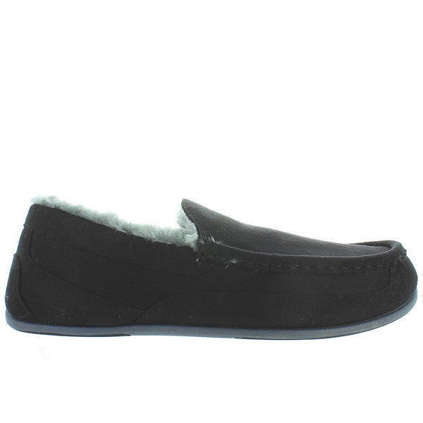 Deer Stags Slipperooz Aspen - Black Microsuede Indoor/Outdoor Moc Slipper