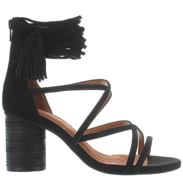 Jeffrey Campbell Despina - Black Suede Strappy Back-Zip Tassel Sandal