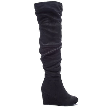 Chinese Laundry Ultra - Black Suede Wedge Boot