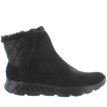 Skechers Cozies - Black Suede Faux Fur-Lined Pull-On Bootie