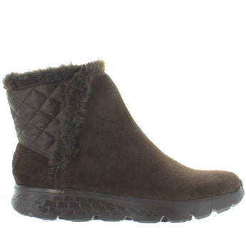 Skechers Cozies - Chocolate Suede Faux Fur-Lined Pull-On Bootie