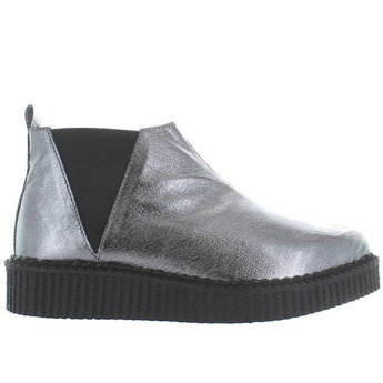 T.U.K. Pointed Toe Chelsea Creeper - Graphite Leather Chelsea Platform Creeper