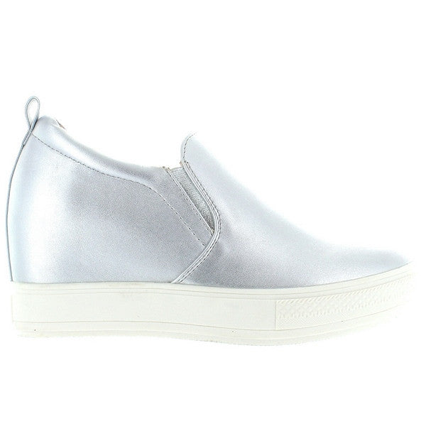 Wanted Pocono - Silver Slip-On Wedge Sneaker