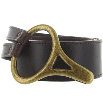 Landes - Brown Leather Brass-Tone Buckle Belt