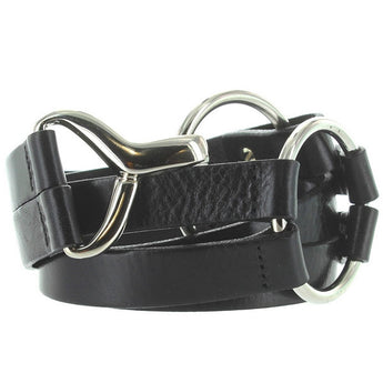 Landes - Black Leather Silver-Tone Buckle Belt