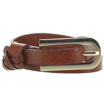 Landes - Rust Leather Gold-Tone Buckle Skinny Belt