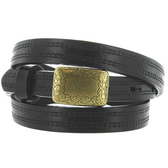 Landes - Black Leather Brass-Tone Buckle Skinny Belt