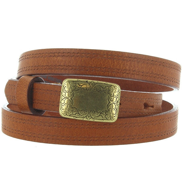 Landes - Tan Leather Brass-Tone Buckle Skinny Belt