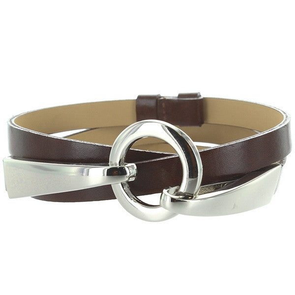 Landes - Brown Leather Silver-Tone Buckle Skinny Belt