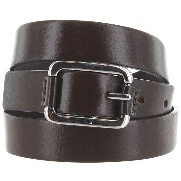 Landes - Khaki Leather Silver-Tone Buckle Narrow Belt