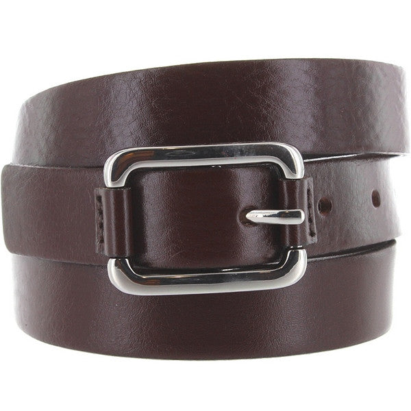 Landes - Brown Leather Silver-Tone Buckle Narrow Belt