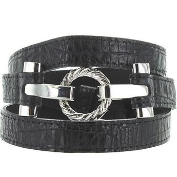 Landes - Italian Black Embossed Leather Silver-Tone Buckle Narrow Belt