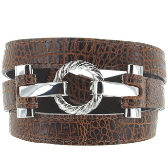 Landes - Italian Brown Embossed Leather Silver-Tone Buckle Narrow Belt