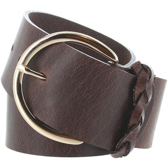 Landes - Brown Leather Gold-Tone Buckle Wide Belt