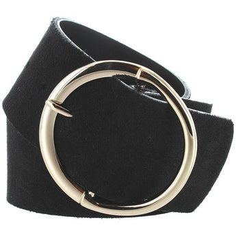 Landes - Black Suede Gold-Tone Buckle Wide Belt