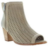 Eric Michael Leah - Taupe Leather Laser-Cut Sandal Bootie