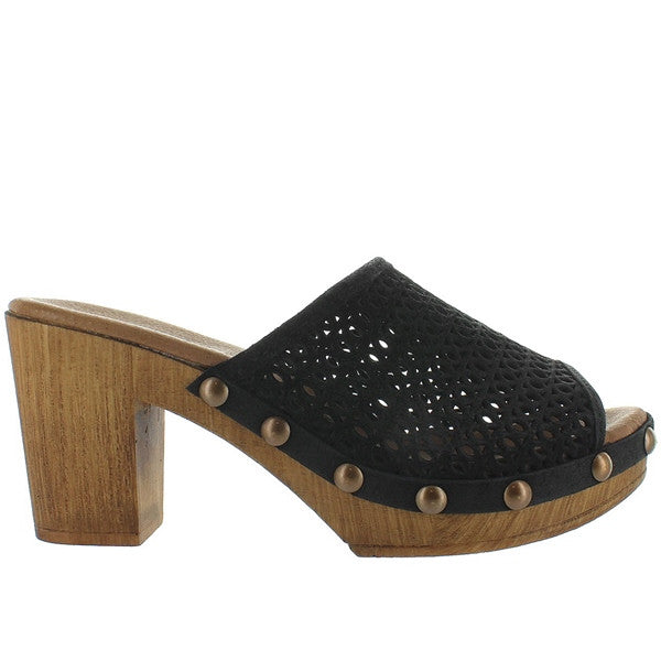 Eric Michael Marlee - Black Leather Laser-Cut Clog Sandal
