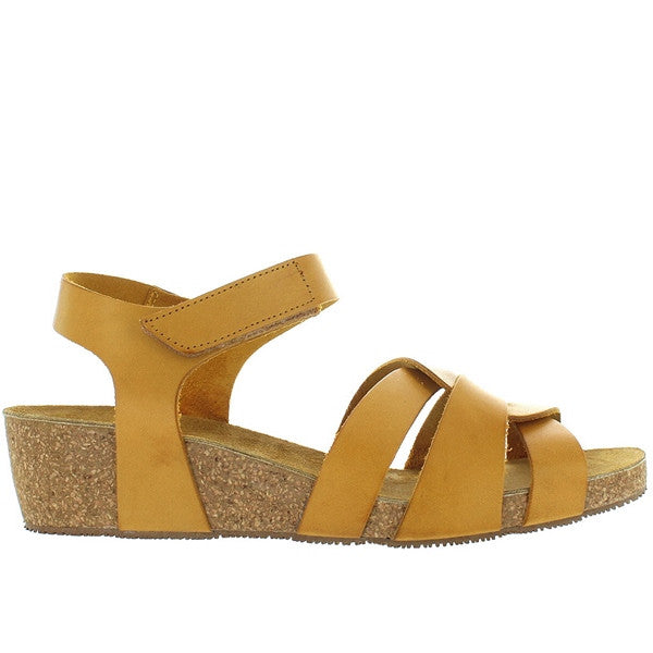 Eric Michael Millie - Yellow Leather Strappy Platform Wedge Sandal