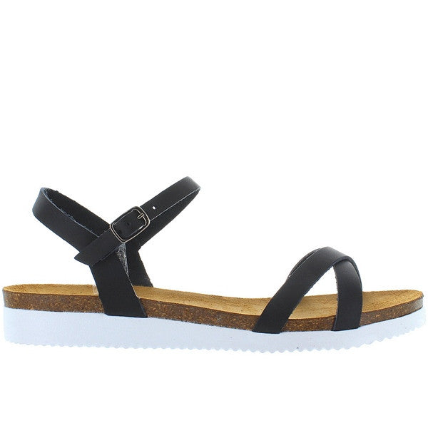 Eric Michael Miley - Black Leather Crisscross Low Wedge Sandal