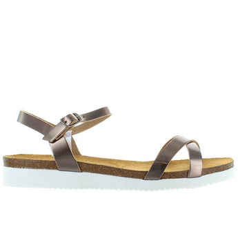 Eric Michael Miley - Bronze Leather Crisscross Low Wedge Sandal