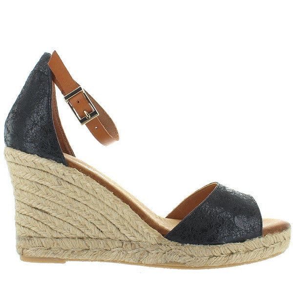 Eric Michael Amelia - Black Leather Espadrille Wedge Sandal