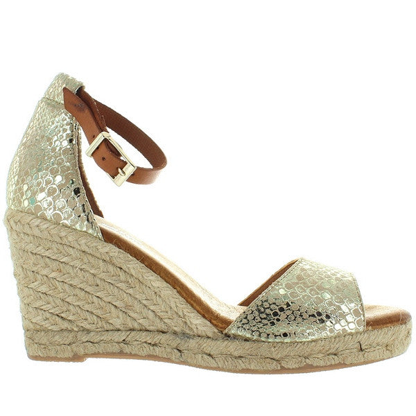 Eric Michael Amelia - Gold Snake Embossed Leather Espadrille Wedge Sandal