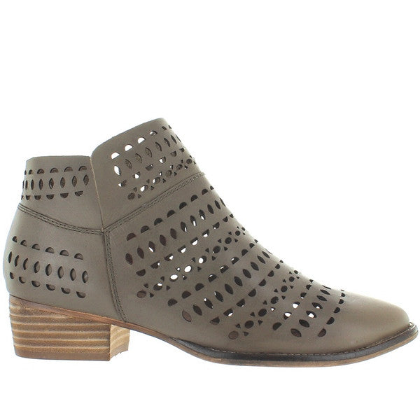 Seychelles Tame Me - Taupe Leather Laser Cut Flat Bootie