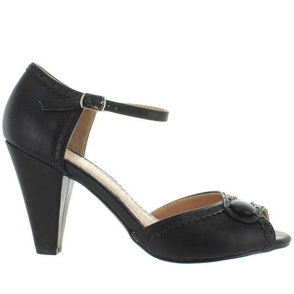 Restricted Dorothy - Black Mary-Jane Open-Toe Pump