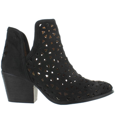 Musse & Cloud Athena - Black Leather Laser-Cut Western Bootie