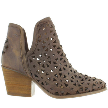 Musse & Cloud Athena - Taupe Leather Laser-Cut Bootie