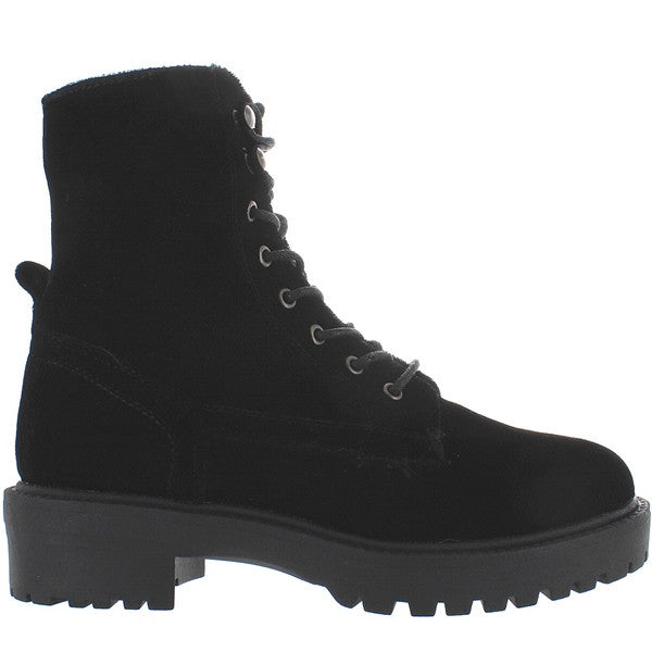 Coolway Draco - Black Velvet Combat Boot