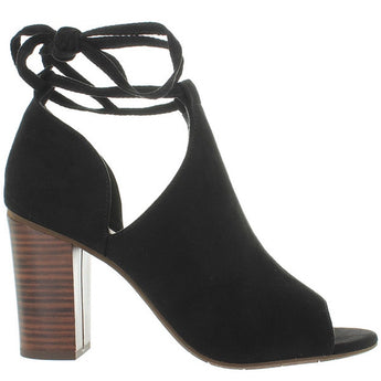 BC Set Me Free - Black Suede Ankle-Wrap High Heel Sandal
