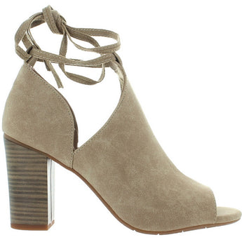 BC Set Me Free - Taupe Suede Ankle-Wrap High Heel Sandal