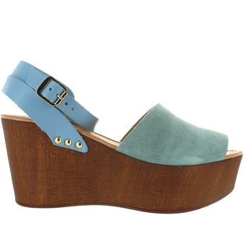 Seychelles Forward - Sea-Foam Suede High Platform Wedge Sandal