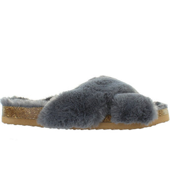 BC Myth - Grey Furry Footbed Sandal
