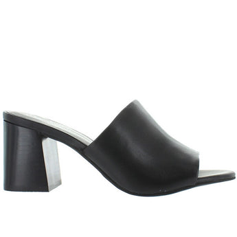 Seychelles Commute - Black Leather Block Heel Mule Sandal