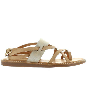 BC Help Yourself - Tan/Silver Leather Strappy Toe-Loop Flat Sandal