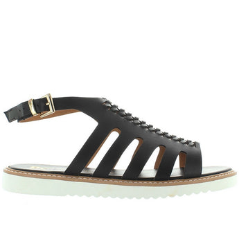 BC Something About You - Black Huarache-Style Low Wedge Sandal