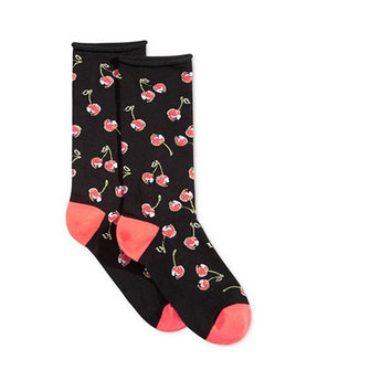Hue Cherry Sock - Black Cherry Print Sock