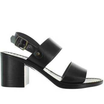 Seychelles State Of Mind - Black Leather Wide Band Sandal
