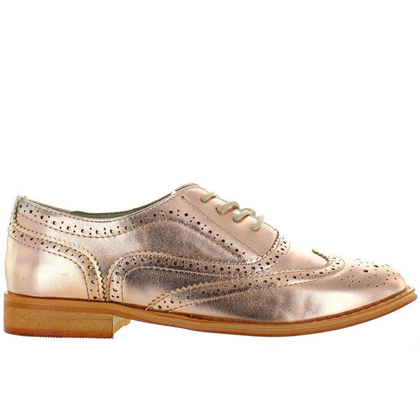 Wanted Babe - Rose Gold Perforated Wing-Tip Oxford