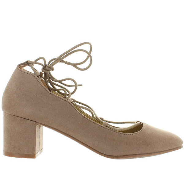 Wanted Abby - Taupe Suede Fancy Tie Pump