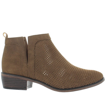 Restricted Nadia - Taupe Perforated Pull-On Bootie