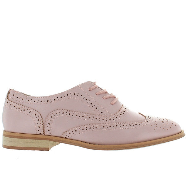 Wanted Babe - Pink Perforated Wing-Tip Oxford